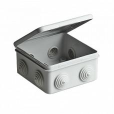 Коробка ответвительная с откидной крышкой для открытой проводки с 8 кабельными вводами, 100х100х50 мм, степень защиты IP54, цвет серый