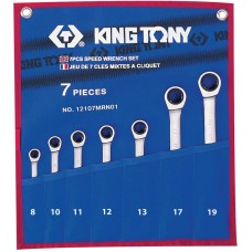 12107MRN01 набор комбинированных трещоточных ключей, 8-19 мм, чехол из теторона, 7 предметов KING TONY 12107MRN01