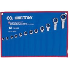 12112MRN набор комбинированных трещоточных ключей, 8-24 мм, чехол из теторона, 12 предметов KING TONY