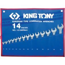 1215MRN01 набор комбинированных ключей, 8-24 мм, чехол из теторона, 14 предметов KING TONY
