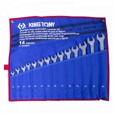 12A4MRN набор комбинированных удлиненных ключей, 8-24 мм, чехол из теторона, 14 предметов KING TONY