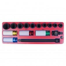 """МАСТАК 5-05416 набор ударных головок 1/2"""" с принадлежностями, ложемент, 16 предметов."""