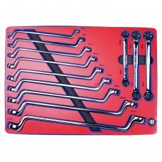 МАСТАК 5-23112 набор накидных и разрезных ключей, зеркальная полировка, ложемент, 12 предметов.