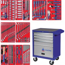 """МАСТАК 52-04205B набор инструментов """"МАСТЕР"""" в синей тележке, 205 предметов"""