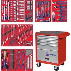 """МАСТАК 52-04205R набор инструментов """"МАСТЕР"""" в красной тележке, 205 предметов"""