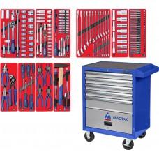 """МАСТАК 52-05186B набор инструментов """"СТАНДАРТ"""" в синей тележке, 186 предметов"""