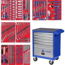 """МАСТАК 52-05205B набор инструментов """"МАСТЕР"""" в синей тележке, 205 предметов"""