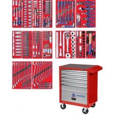 """МАСТАК 52-05299R набор инструментов """"ПРОФИ"""" в красной тележке, 299 предметов"""