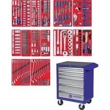 """МАСТАК 52-06299B набор инструментов """"ПРОФИ"""" в синей тележке, 299 предметов"""