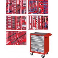 """МАСТАК5 2-06299R набор инструментов """"ПРОФИ"""" в красной тележке, 299 предметов"""