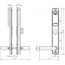 Беспроводной щиток E100 SCAND THUMBTURN Standard ASSA ABLOY с отверстиями под цилиндр с внешней стороны, с внутренней стороны поворотная кнопка