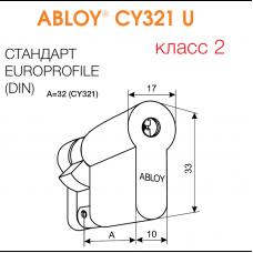 CY321 ABLOY - цилиндр односторонний с дисковым механизмом секрета из латуни