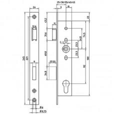 9602 ABLOY врезной замок для узкопрофильных входных дверей