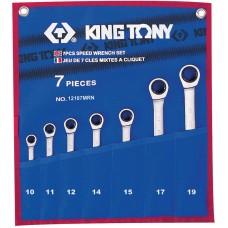 12107MRN набор комбинированных трещоточных ключей, 10-19 мм, чехол из теторона, 7 предметов KING TONY