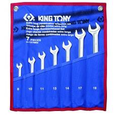 12C7MRN01 набор комбинированных удлиненных ключей, 8-19 мм, чехол из теторона, 7 предметов KING TONY
