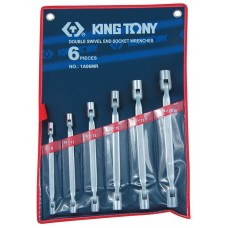 1A06MR набор торцевых ключей с шарниром, 8-19 мм, 6 предметов KING TONY