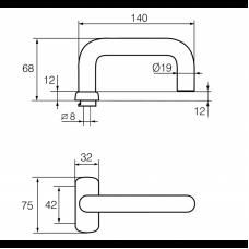 3-19/0650 Инокси ABLOY пара ручек для профильной двери, толщина двери 40-70 мм