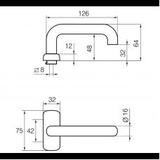 3-20/0650 ABLOY пара ручек для профильной двери, толщина двери 38-54 мм