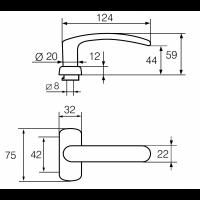 6/0650 POLAR ABLOY пара ручек для профильной двери, толщина двери 40-70 мм