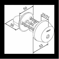 Цилиндр финского стандарта CY001 с поворотной кнопкой