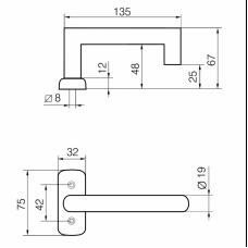 3-19K/0650 Инокси ABLOY пара ручек для профильной двери, толщина двери 38-54 мм, нержавеющая сталь