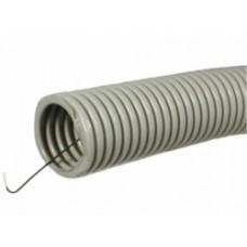 Труба гофр.D=25мм ПВХ (серая) с зондом легкая